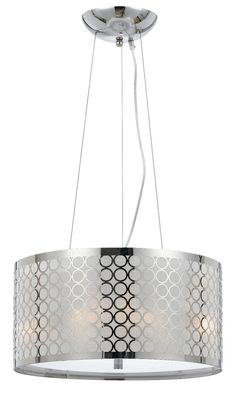 Buy the Cal Lighting Chrome Direct. Shop for the Cal Lighting Chrome Madrid 3 Light Pendant with Drum Shade and save. 3 Light Pendant, Drum Pendant, Pendant Light Fixtures, Ceiling Pendant, Pendant Lighting, Ceiling Lights, Chandelier Lamp, Chandeliers, Lamps