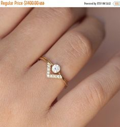 ON SALE Wedding Set - Simple Round Diamond Ring & Pave Diamond V ring - 18k Gold by artemer on Etsy https://www.etsy.com/listing/198699881/on-sale-wedding-set-simple-round-diamond