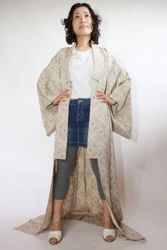 Cross the Flower. Cream Japanese Vintage Summer Kimono by CJSTonbo, $80.00