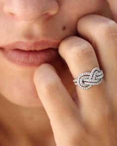 Double Infinity Knot Diamond Ring See more here: https://www.etsy.com/listing/237160234/infinity-knot-diamond-engagement-ring?ref=shop_home_active_2