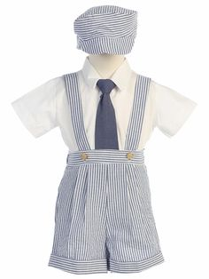 BEEHAVE BOY/'S SIZE 4T BLUE /& WHITE SEERSUCKER SHORTS ROMPER BUTTON CROTCH NEW