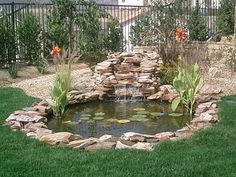 43 Stunning Garden Pond Waterfall Design Ideas - Home/Decor/Diy/Design Small Backyard Ponds, Backyard Water Feature, Small Ponds, Outdoor Fish Ponds, Backyard Waterfalls, Backyard Ideas, Fish Pond Gardens, Koi Fish Pond, Koi Ponds