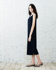 知性優雅細褶背心長洋裝
