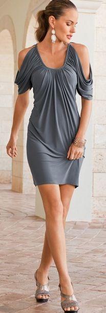 Cold-shoulder knit dress