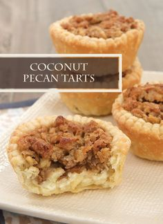 Adding sweetened coconut flakes to the classic mini pecan pie tart recipe gives you this delicious party treat! Bake some Coconut Pecan Tarts for your holiday entertaining!
