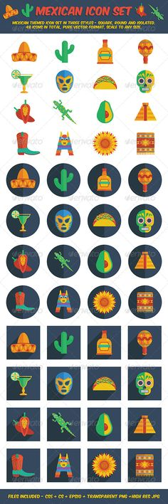 Mexican Icon Set #GraphicRiver Collection of mexican themed icons in 3 styles – isolated, round and square with long shadow effect. Zip file includes: Each set in illustrator CS5, CS and EPS10 formats 3 individual Transparent PNG files 3 individual Hi Res JPEG files 15 Files in total Please check out my other mexican themed items in my portfolio. Created: 27September13 GraphicsFilesIncluded: TransparentPNG #JPGImage #VectorEPS