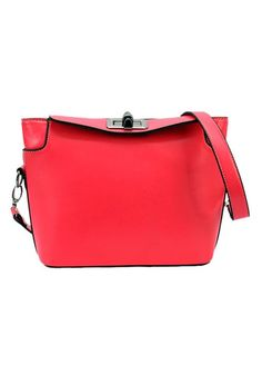 Rose-Carmine Cotton Lining PU Leather Drawstring Bag