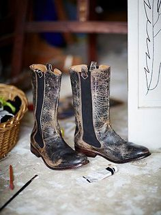 Gentry Mid Boot | Distressed leather boots, made with old world cobbling techniques. Feature cool gussets along the sides.  *By Bed Stu + Free People