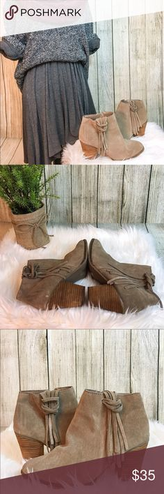 Tan Fringe Booties Tan Suede-like fringe Booties with a chunky heel. Great fall staple in the wardrobe of any fashionista! Paired perfectly with a knee length neutral dress, fluffy scarf, and maybe a loose beanie to top off the cozy feel! Dress not your thing? That's okay! Works wonders with some rolled up jeans! Gently used only once or twice! Dolce Vita Shoes Ankle Boots & Booties