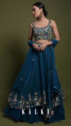 Teal Lehenga Choli In Cotton Silk With Fancy Cutout Hemline And Floral Embroidery Online - Kalki Fashion Indian Wedding Gowns, Indian Gowns Dresses, Indian Bridal Outfits, Indian Fashion Dresses, Indian Designer Outfits, Blue Lehenga, Lehenga Style, Indian Lehenga, Cotton Lehenga