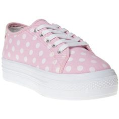 SOLE Flatform Spot Trainers ($16) ❤ liked on Polyvore featuring shoes, sneakers, flatform sneakers, pink polka dot shoes, dot shoes, flatform shoes and canvas shoes