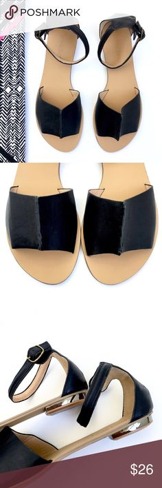 """Electric Karma Black Flat Shoe These are a flat roman style sandal with a stitch design top, ankle buckle , open toe, and goldtone mirrored heel detailing. Manmade materials.  Size: 9 Heel Height: 1/2""""  New without tags. Shoes Sandals"""