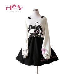 e4022c6235 Tanie  Himifashion Harajuku Czarny Strój Królika 2 Sztuk Halloween Dress  Śliczne Kobiety Długie Rękawy Lolita