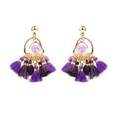 TYRIAN STINGER MAGNOLIA DRUZY EARRINGS Tassel Earrings Outfit, Gold Plated Earrings, Drop Earrings, Druzy Jewelry, Fashion Jewellery Online, Magnolia, Jewelry Making, Purple, Stuff To Buy