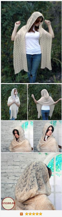"The mohair scarf with very large hood is like cream - gentle and underweight. Weight is only 125 g. ""Feathers"" on lace scarf, natural light tone, cozy kidmohair yarn help you feel feminine and charming #hoodedscarf #fantasy #Capelet #Morigirl #FairyKnitRU https://www.etsy.com/FairyKnitRU/listing/565095459/hooded-scarf-cream-lace-scarf-mohair?ref=shop_home_active_5"