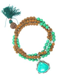 Yoga Gift Mala Green Jade Rudraksha Beads for Meditation Hindu Prayer Mala, Holy Necklace|Amazon.com