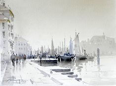 Corneliu Dragan-Targoviste Navy-36x27cm #watercolor jd