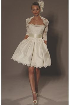 Wedding Dress For Short Brides :) Cute dress, but...Ughhh..forget the hair piece!