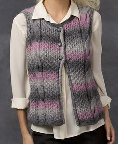 Free Knitting Pattern for Cable Best Vest - Buttoned best featuring large braided cables on a honeycomb cable background. Great in multi-color yarn! Sizes small – 2X. Designed by Heather Lodinsky for Red Heart