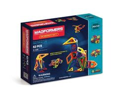 Magformers Designer Set (62 PCS) - Building structures has never been this easy! For advanced builders, the award-winning Designer set arrives with 5 geometric shapes for endless fun! Use isosceles triangles, equilateral triangles, squares, trapezoids and diamonds to construct 'magic balls', wheels, boats, windmills, helicopters and much more! What will you design!?