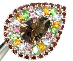 SMOKY QUARTZ SPINEL PERIDOT RING 39.75  CTS SIZE-7.5 RJ-242 gemstone ring, muti cluster ring, silver ring gemstones