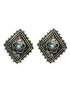 Antique Metal Rhombus Earrings from Helen's Jewels