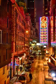 Night in Hong Kong Central.                            THE LIBYAN Esther Kofod www.estherkofod.com Lost In Hong Kong, Dai Pai Dong, Hong Kong Architecture, Hong Kong Night, Macau Travel, City Lights At Night, Chinese Culture, Traditional Chinese, Taiwan