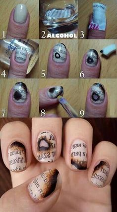 Awesome burnt newspaper nail design!!