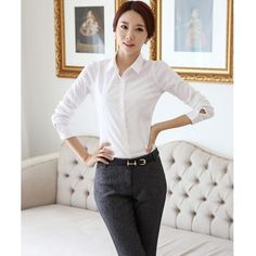 Brand New Fashion White Blouse Shirt Women Work Wear Long Sleeve Blusas Tops Slim Ladies Office Blouses Shirts Plus Size