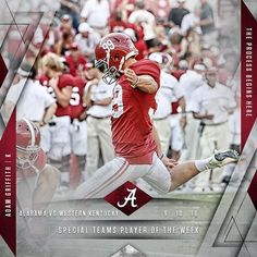 Adam Griffith named a Special Teams Player of the Week versus Western Kentucky. #Alabama #RollTide #Bama #BuiltByBama #RTR #CrimsonTide #RammerJammer