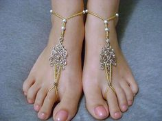 Goldtone Beaded Barefoot sandals I have 2 pair of these & love them for the beach.