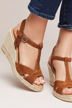 b928b46a12 Slide View: 2: Anthropologie Suede T-Strap Wedge Sandals Petite Fashion, T
