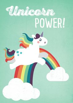 "Poster Unicorn Power, 16""x23"", Art Print, Animal Art Print, Illustration, Vector Art, Children's Room"