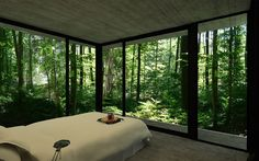 Main Bedroom of Gres House with 3 Walls of Floor to Ceiling Windows
