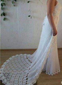 Tejidos - Knitted - Simple and elegant - crocheted wedding dress Irish Crochet, Crochet Lace, Crochet Stitches, Crochet Wedding Dresses, Crochet Dresses, Mode Crochet, Crochet Woman, Irish Lace, Crochet Designs