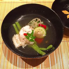 Starting the kaiseki meal at Kakomi Osaka with a soup with hamo fish (daggertooth pike conger) and seasonal vegetables  #japanesefood #kaiseki #japan #foodie #washoku #delicious #yum #yummy #foodporn #chef #cuisine #gastronomy #food #healthy #hungry by japanese_taste