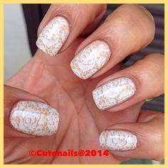 Girly lace nail art using Essie cocktails and coconuts and pueen 27