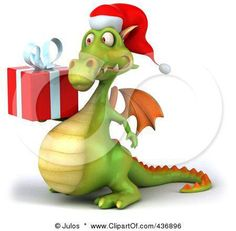 Christmas Dragon Holding a Present by Julos http://3dclipartof.com/design/clip-art-of-a-3d-christmas-dragon-holding-a-present-by-julos-17959