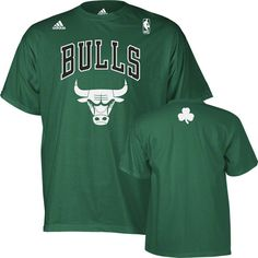 Chicago Bulls St. Patrick's Day Irish Pattern Primary Logo T-Shirt by Adidas $18.95