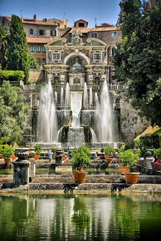 Villa d'Este – Tivoli Italy. The Villa d'Este is a villa in Tivoli, near Rome, Italy. Listed as a UNESCO world heritage site, it is a fine example of Renaissance architecture and the Italian Renaissance garden. Places Around The World, Oh The Places You'll Go, Places To Travel, Places To Visit, Around The Worlds, Tivoli Italy, Rome Italy, Tivoli Rome, Wonderful Places