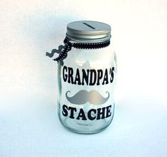 Grandpa's Stache Mason Jar Bank Coin Slot Lid by MyKindofKrafty, Father's Day gift, gift for grandpa, coin jar, mason jar bank, grandpas mustache bank
