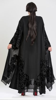 Velvet Floral embroidery. #SaraAlSuwaidiCollection #Abaya Street Hijab Fashion, Abaya Fashion, Muslim Fashion, Kimono Fashion, Fashion Dresses, Mode Abaya, Mode Hijab, Muslim Dress, Hijab Dress