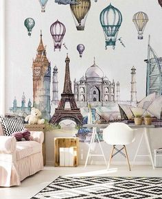 Go to Travel :: Kids Fantasy - kolekcja fototapet WonderWall, Kraków. Unique Wallpaper, Wall Wallpaper, Beautiful Wallpaper, Balloon Illustration, Wonderwall, Krakow, Wall Design, Wall Murals, Illustrators