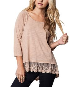 Look what I found on #zulily! Mocha Lace-Hem Tunic #zulilyfinds