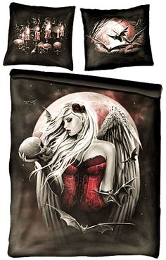 Angel of Death - Double Duvet Bedding Set + matching UK Pillow cases Bedding Sets Uk, Toddler Girl Bedding Sets, Duvet Bedding, Duvet Covers Uk, Double Duvet Covers, Bed Covers, Skull Bedroom, Gothic Bedroom, Steampunk