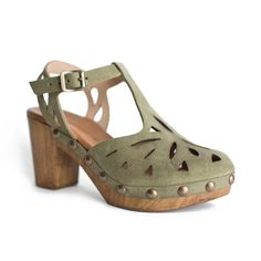 """Fun and flirty, faux wood, suede platform heel with laser cutouts and brass head detail. - Leather suede upper and lining - 3"""" heel with 1"""" platform - Buckle ankle strap - Padded footbed - Made in Por"""