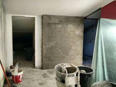 ricostruzione tramezzo con finitura a cemento semigrezzo