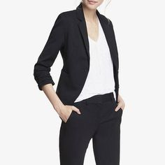 Rank & Style - Express 20 Inch Studio Stretch Ruched Sleeve Jacket #rankandstyle