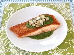 Seared Salmon with Toasted Almond Pesto - Easy Healthy Recipe