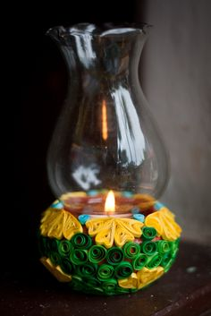quilled flower pot candleholder